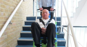 Tracked Evacuation Chair being used on stairs
